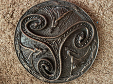 Load image into Gallery viewer, Triskelion Wall Plaque Mother Maiden Crone Celtic Hanging Triple Goddess Bronze