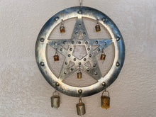 Load image into Gallery viewer, Pentagram Metal Wall Hanging Wind Chime Moroccan Bells Patina Rust 18.5 Inches