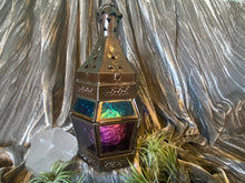 Load image into Gallery viewer, Moroccan Hanging Lantern, Metal/Purple/Turquoise Glass