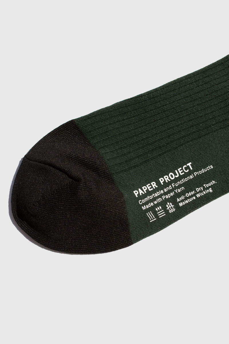 Paper Project Basics Rib Crew Socks Forest