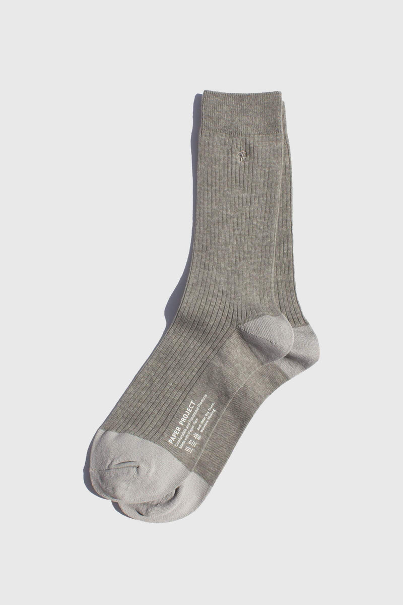 Paper Project Basics Rib Crew Socks Gray