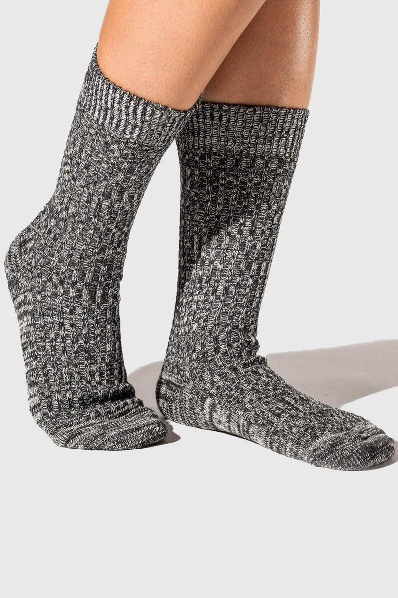 Paper Project Hemp Heather Rib Crew Socks Charcoal