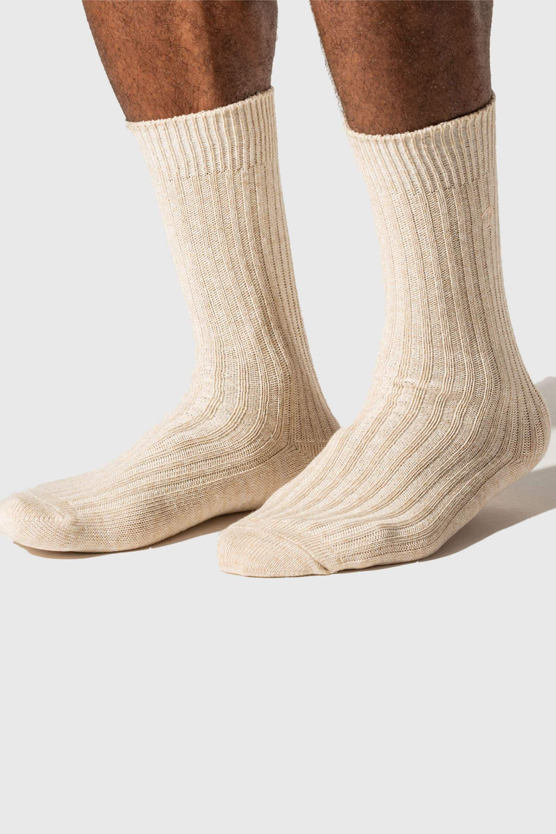 Paper Project Hemp Heather Rib Crew Socks Oatmeal