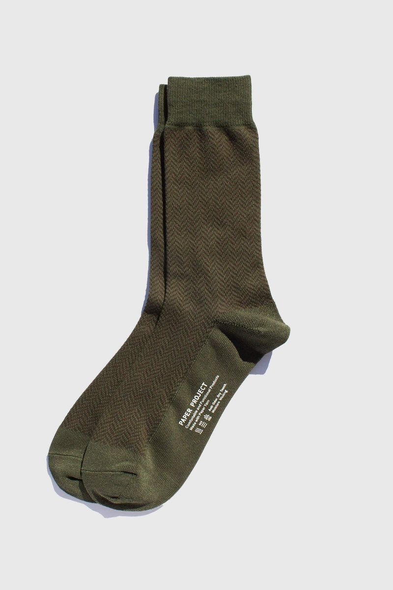 Paper Project Herringbone Crew Socks Olive