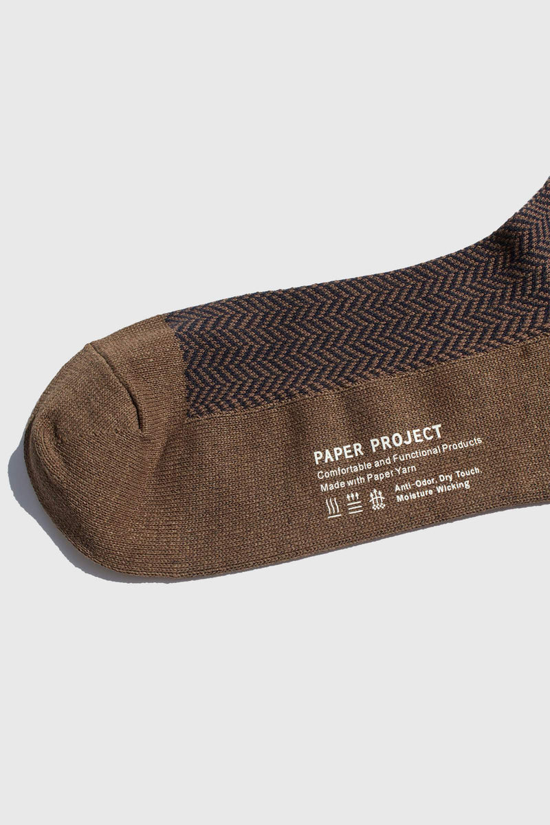Paper Project Herringbone Crew Socks Wood