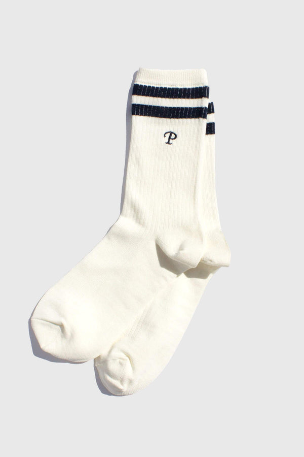 Paper Project Team P Stripe Crew Socks White