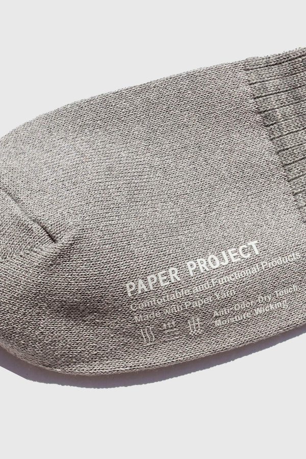 Paper Project Wool Rib Crew Socks Gray