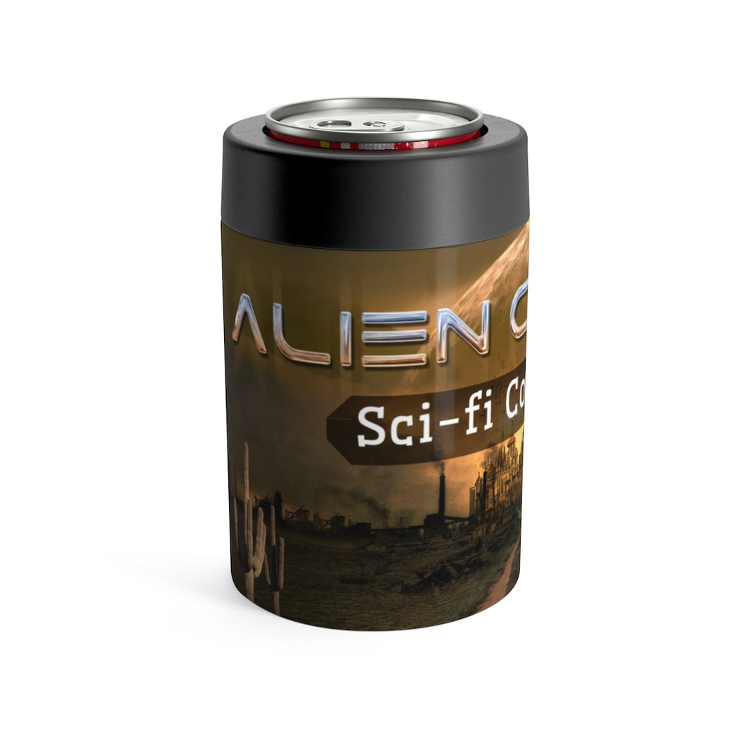 A can or bottle holder with Alien Country scifi country rock design - a dirt road leading to a futuristic city framed by a large alien moon rising on the horizon. A wooden road sign on the right reads Alien Country, a seguaro cactus on the left side of the road.