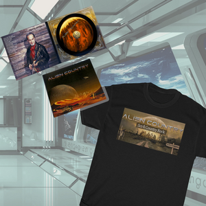 "a black t-shirt emblazoned with an desert planet landscape and the words, ""sci-fi country rock"". Also the CD titled, ""Like My Life Depends On It"""
