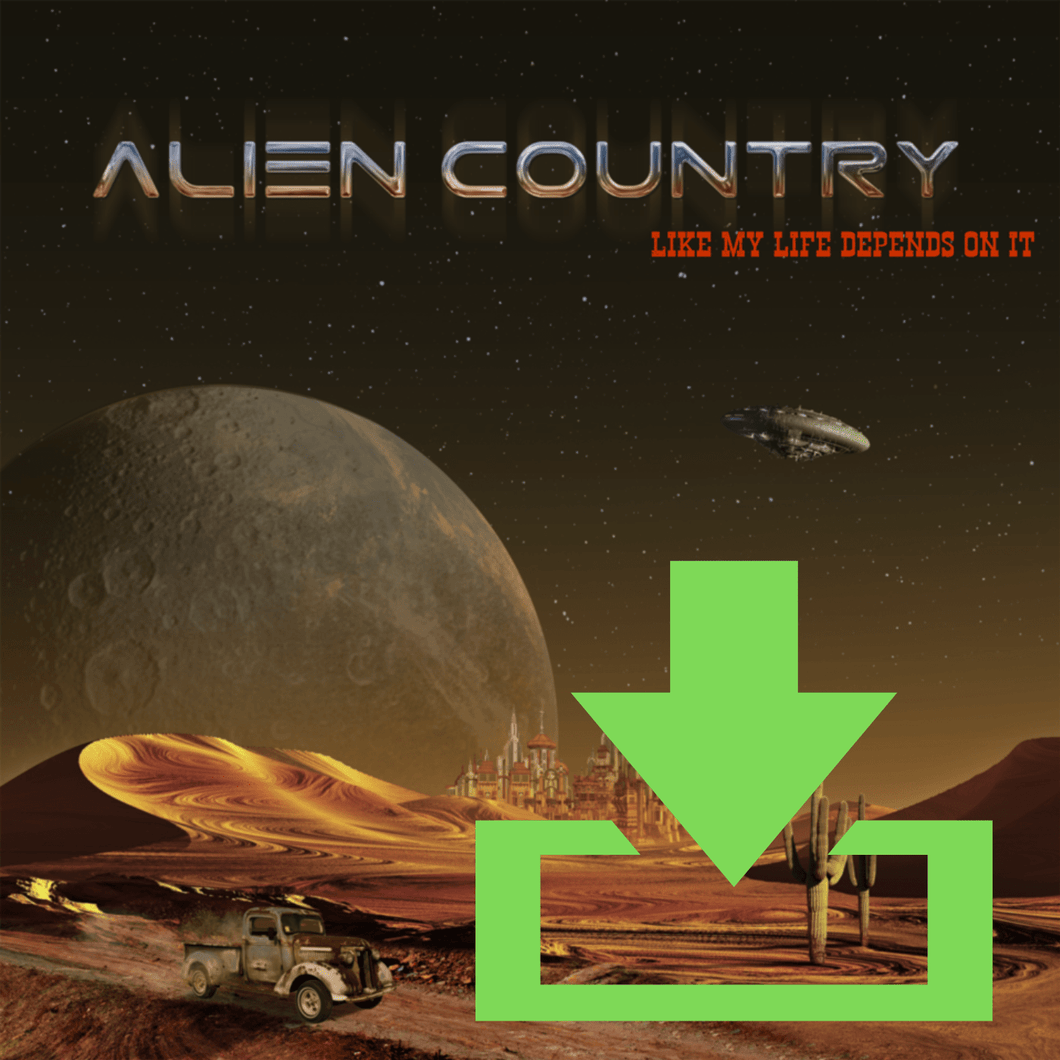 a red planet with sand dunes futuristic city on the horizon with alien moon and flying saucer high above. An antique pickup truck from Earth is driving along a dirt road which leads to the city. Artwork designed for Liam Marcus by the famous Hugh Syme. Scifi country rock, southern rock.