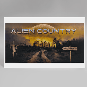 a dirt road leading to a futuristic city framed by a large alien moon rising on the horizon. A wooden road sign on the right reads Alien Country, a seguaro cactus on the left side of the road. Artwork designed for Liam Marcus by the famous Hugh Syme. Scifi country rock, southern rock.