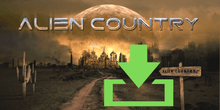 Load image into Gallery viewer, a dirt road leading to a futuristic city framed by a large alien moon rising on the horizon. A wooden road sign on the right reads Alien Country, a seguaro cactus on the left side of the road. Artwork designed for Liam Marcus by the famous Hugh Syme. Scifi country rock, southern rock.