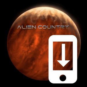 a red planet with sand dunes futuristic city on the horizon with alien moon and flying saucer high above. An antique pickup truck from Earth is driving along a dirt road which leads to the city. Artwork designed for Liam Marcus by the famous Hugh Syme. Scifi country rock, southern rock