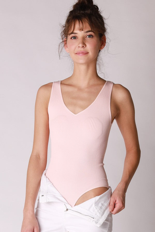 Luna Seamless Ribbed Bodysuit Baby Pink