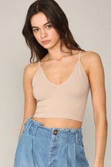 Seamless V Neck Light Taupe Cami - Lola Boutique