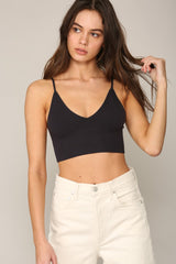 Seamless V Neck Cami Black - Lola Boutique