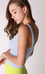 Veronica V-Neck Ribbed Crop Top Heather Blue - Lola Boutique