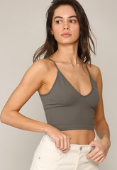Seamless Cami V Neck Graphite - Lola Boutique