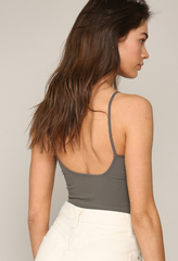 Seamless Cami V Neck Graphite
