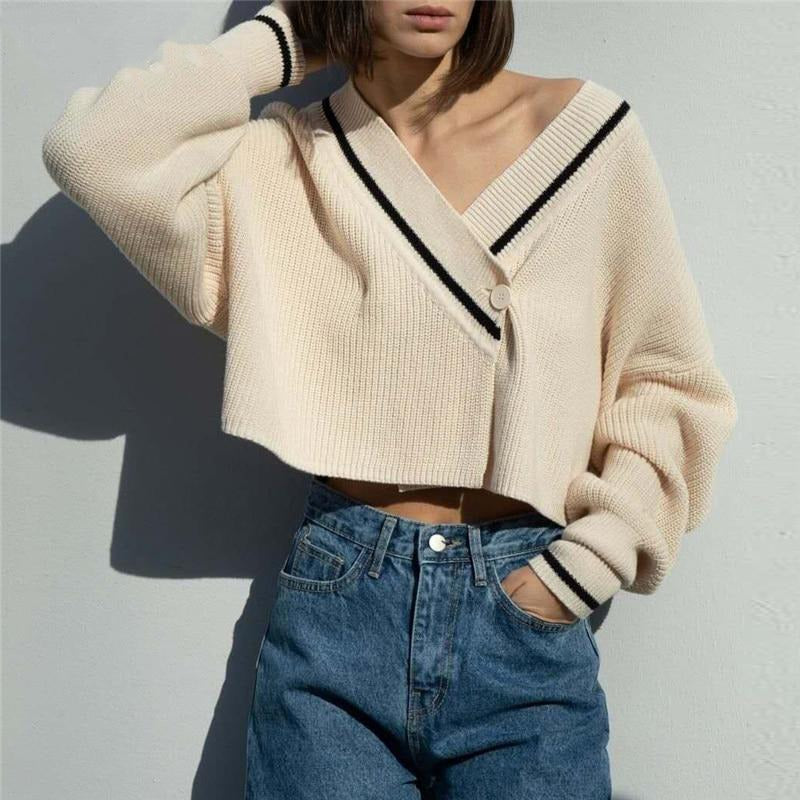 Preppy Style Knitted Cardigans Sweater Top