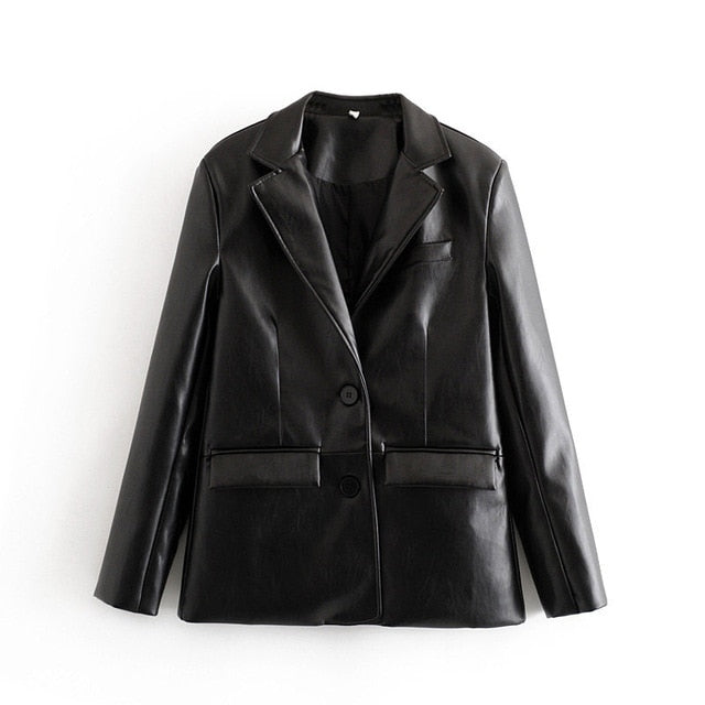 Loose PU Faux Leather Blazer