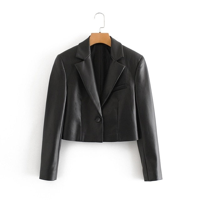 Faux Leather Crop Long Sleeve Blazer Jacket - Eleega