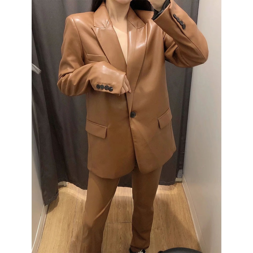 Faux Leather Blazer & High Waist Trouser Two Piece Set