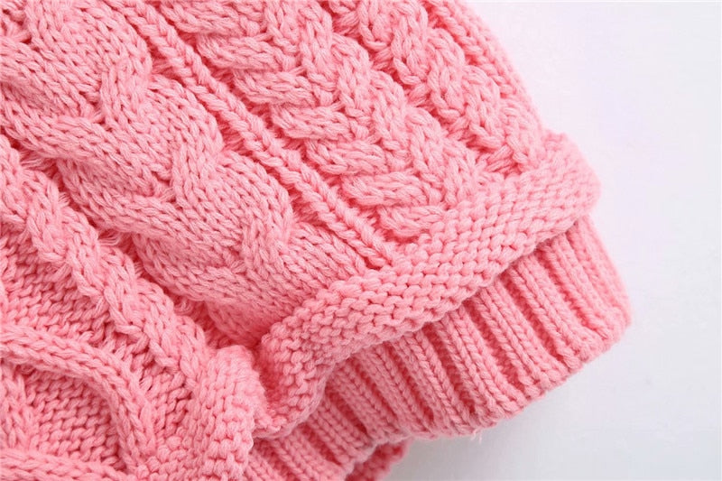 Casual Turtleneck Pink Knitted Sweater