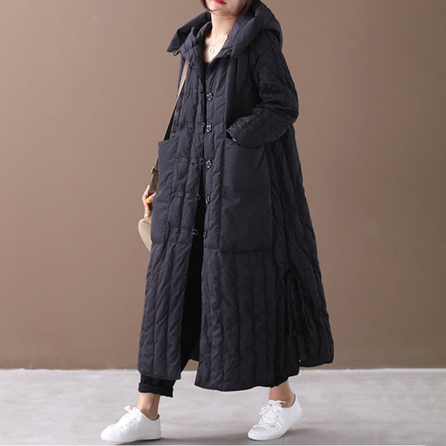 Hooded Long Coat Loose Coat - Eleega