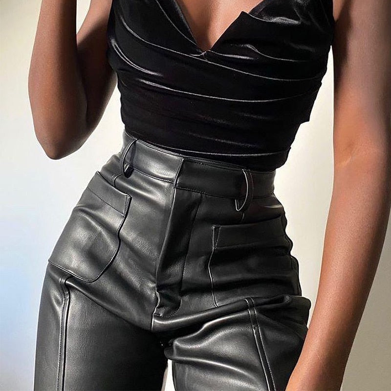 High Waist Faux Leather Pant
