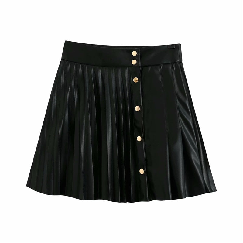 Pu Leather High Waist Buttoned Pleated Skirt - Eleega