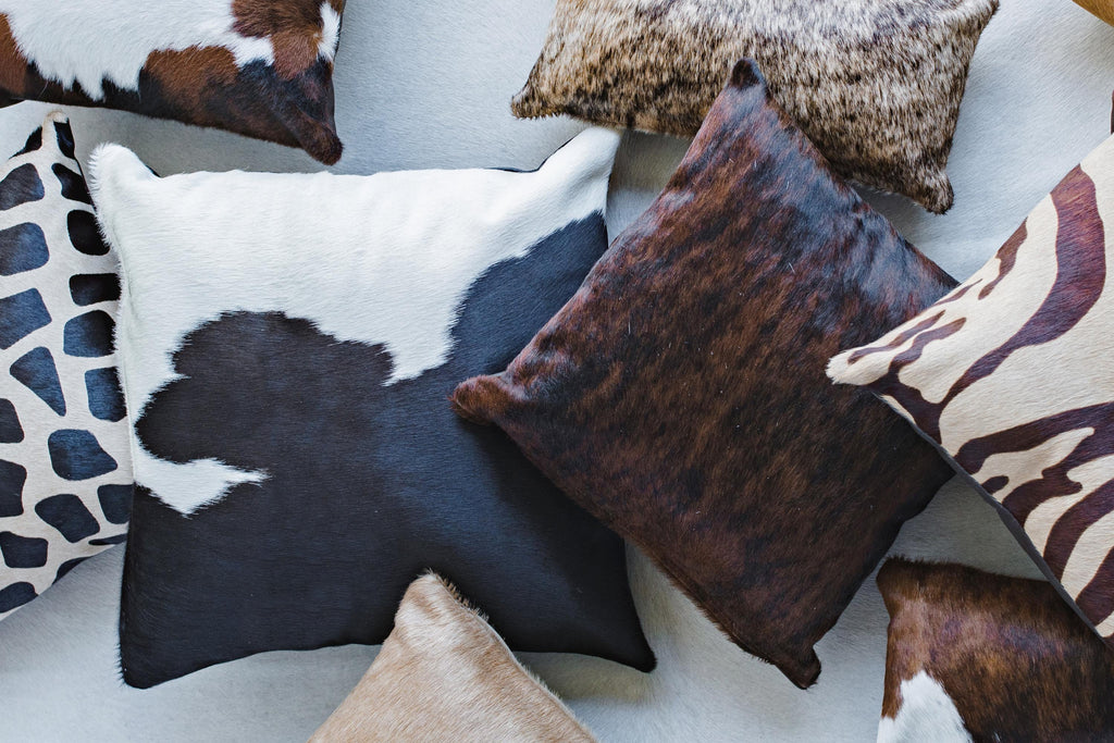 Cowhide pillow covers, printed cowhide pillow covers