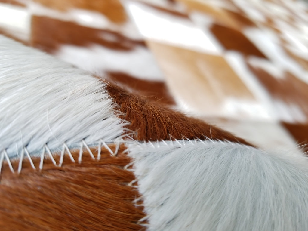Patchwork Cowhide Rug Brown and White - Luxury Cowhides