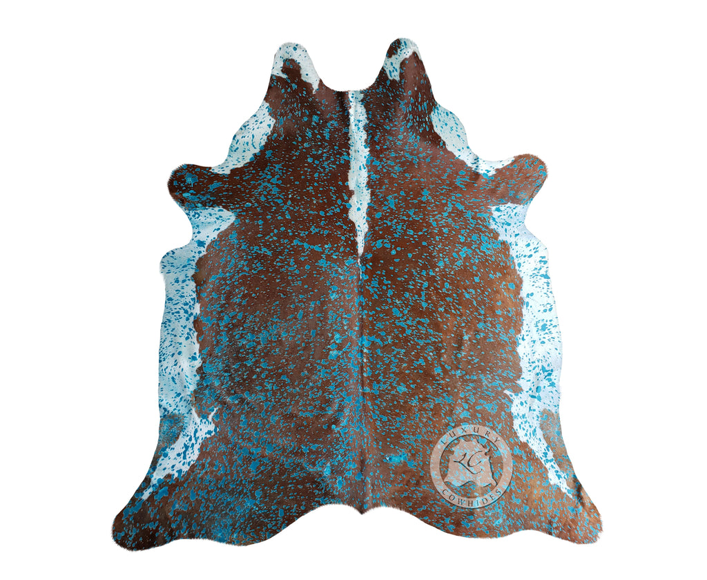 Acid Wash Turquoise Cowhide on Hereford
