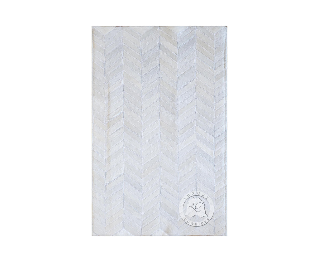 CHEVRON Cowhide Rug Bedside Off White 22x34""