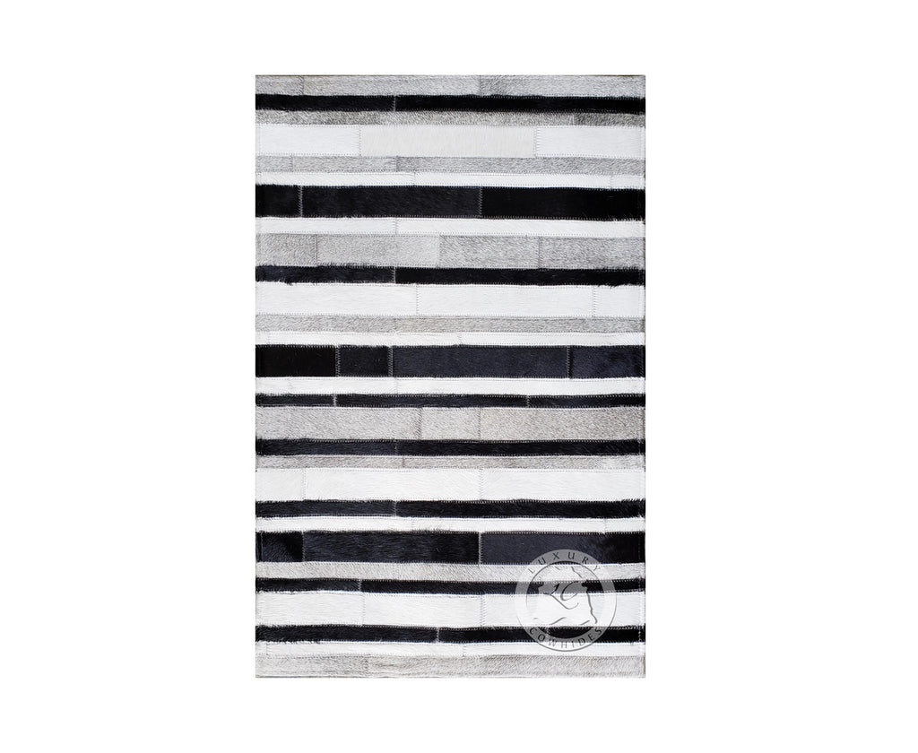 STRIPES Cowhide Rug Bedside Black/Grey/White 22x34""
