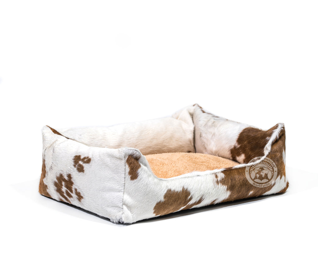 Brown and White Cowhide Pet Bed, 22X29X8""