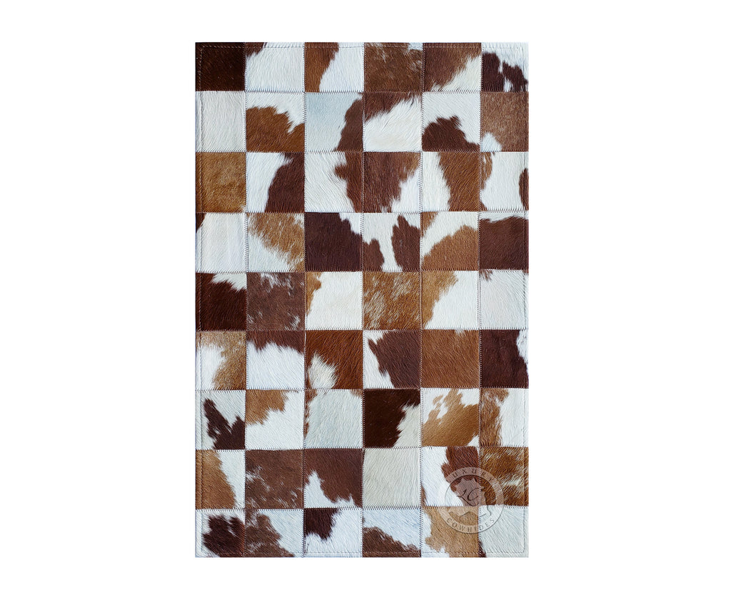 Patchwork Cowhide Rug Bedside Brown & White 22x34""