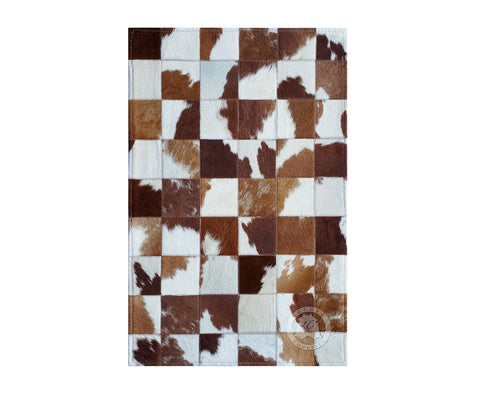 "Bedside Patchwork Cowhide Rug Brown & White Tones (22"" x 34"" Inches)"