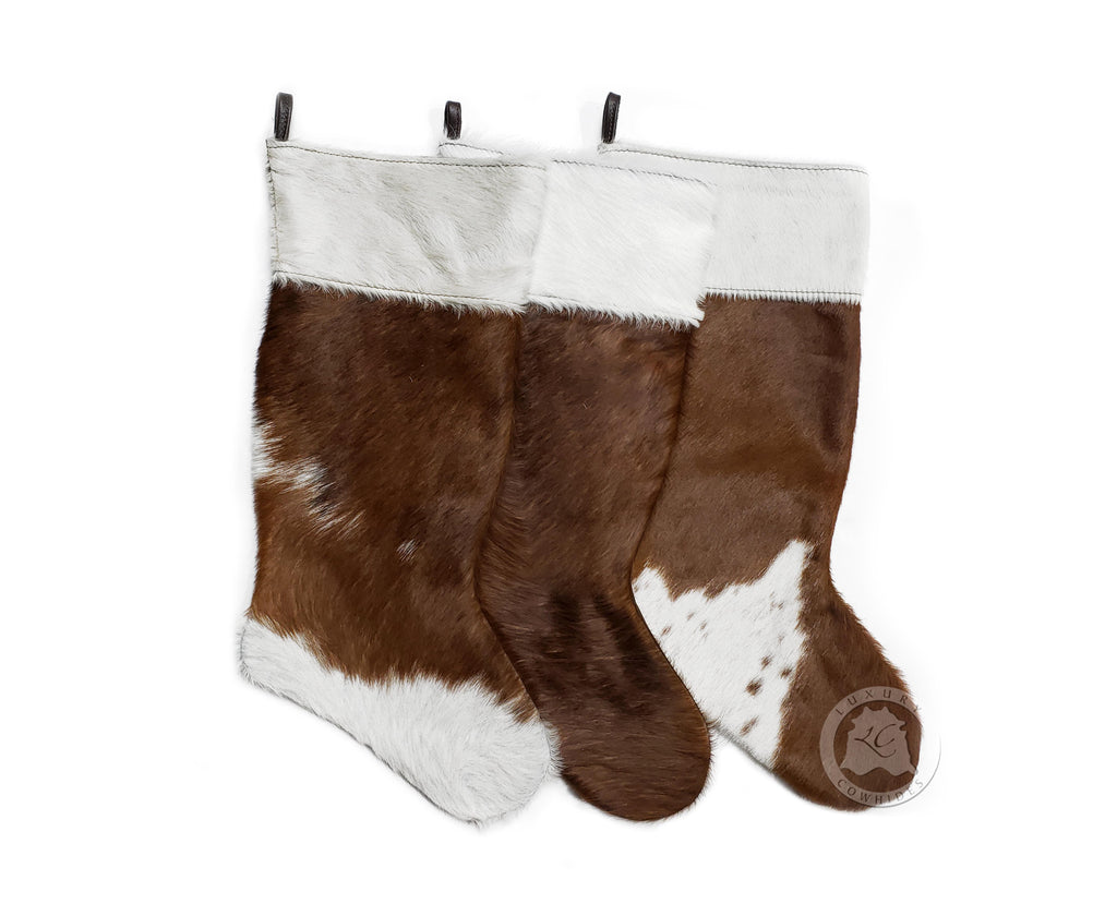 "CHRISTMAS STOCKINGS - BROWN - Size 19""x10"""