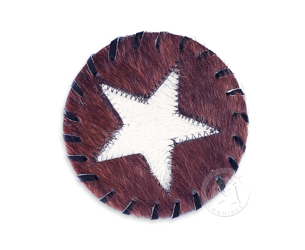 Cowhide Coaster -STAR- Assorted Colors