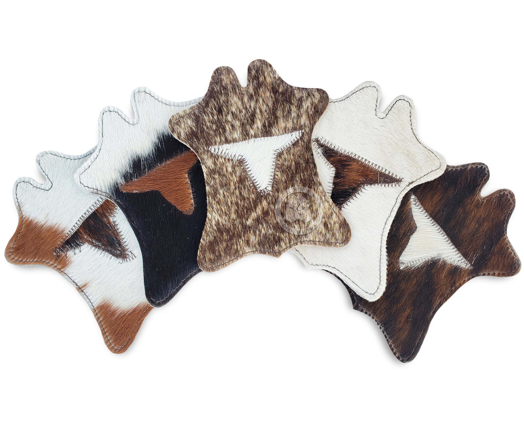 Cowhide Coaster Hide Shape -LONGHORN- Assorted Colors