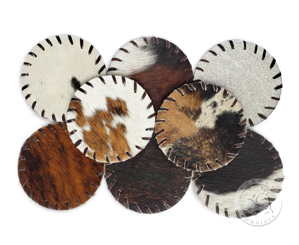 Cowhide Coaster -PLAIN- Assorted Colors