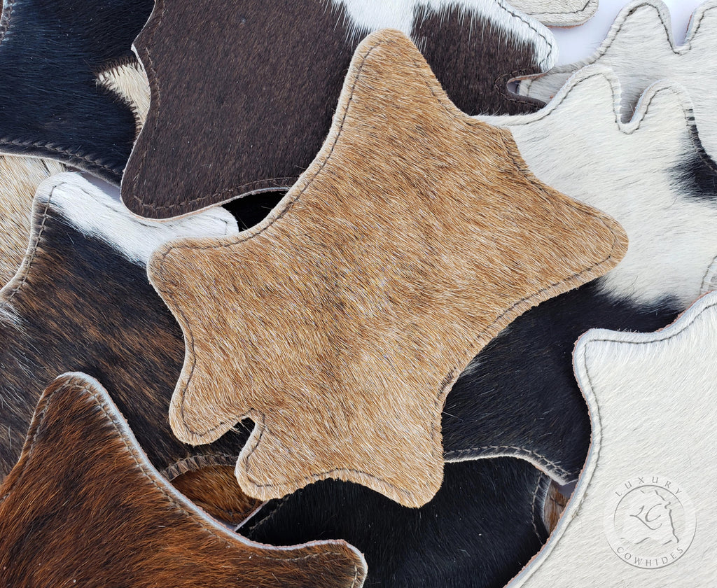Cowhide Coaster Hide Shape - Assorted Colors