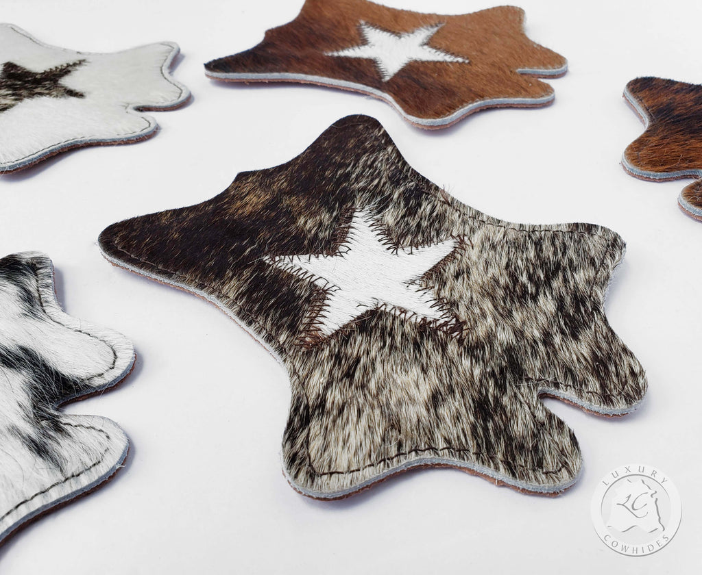 Cowhide Coaster Hide Shape -STAR- Assorted Colors