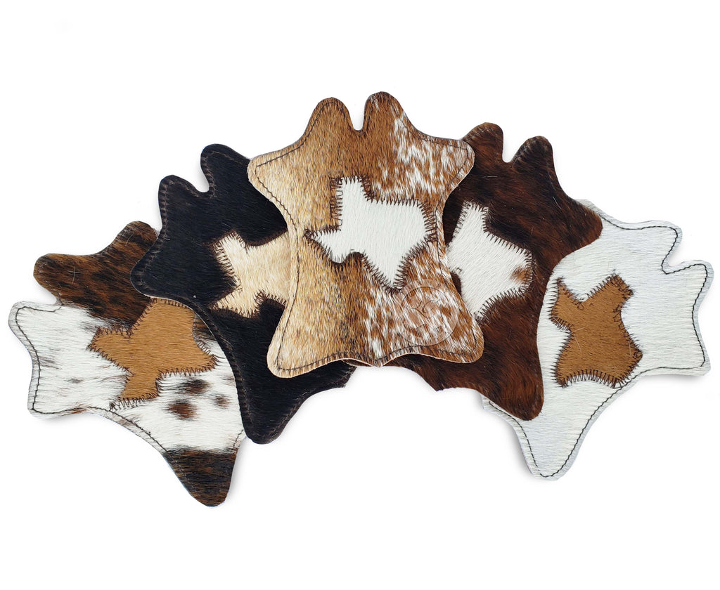 Cowhide Coaster Hide Shape -TEXAS MAP- Assorted Colors