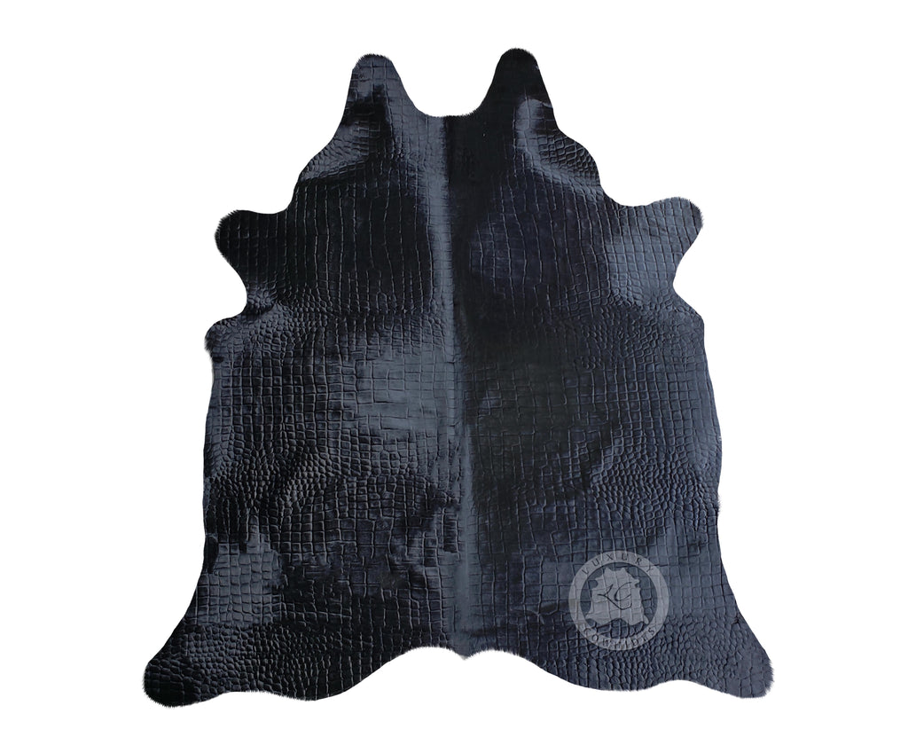 Crocco Dyed BLACK Cowhide Rug