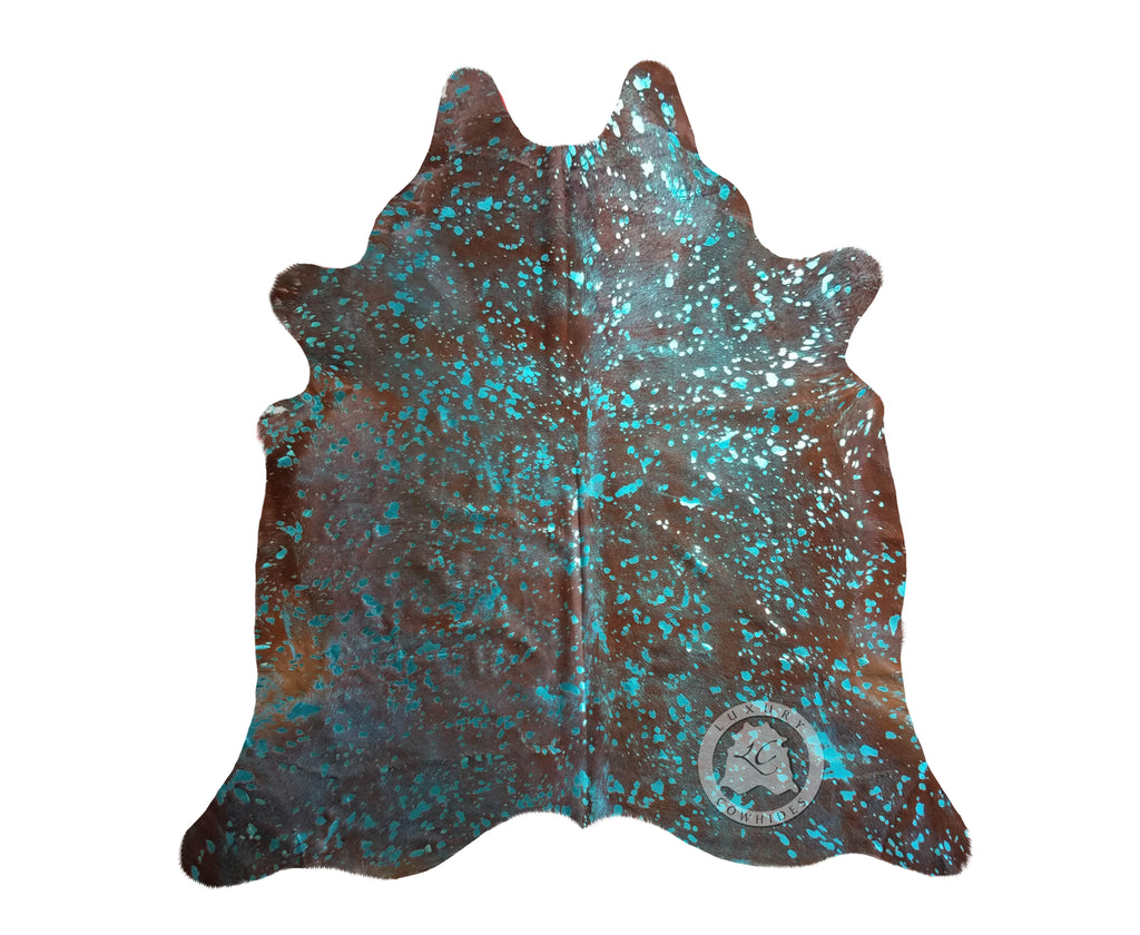 Metallic Turquoise on Brown Cowhide Rug