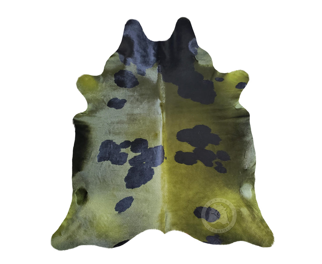 Dyed Khaki and Black Cowhide Rug