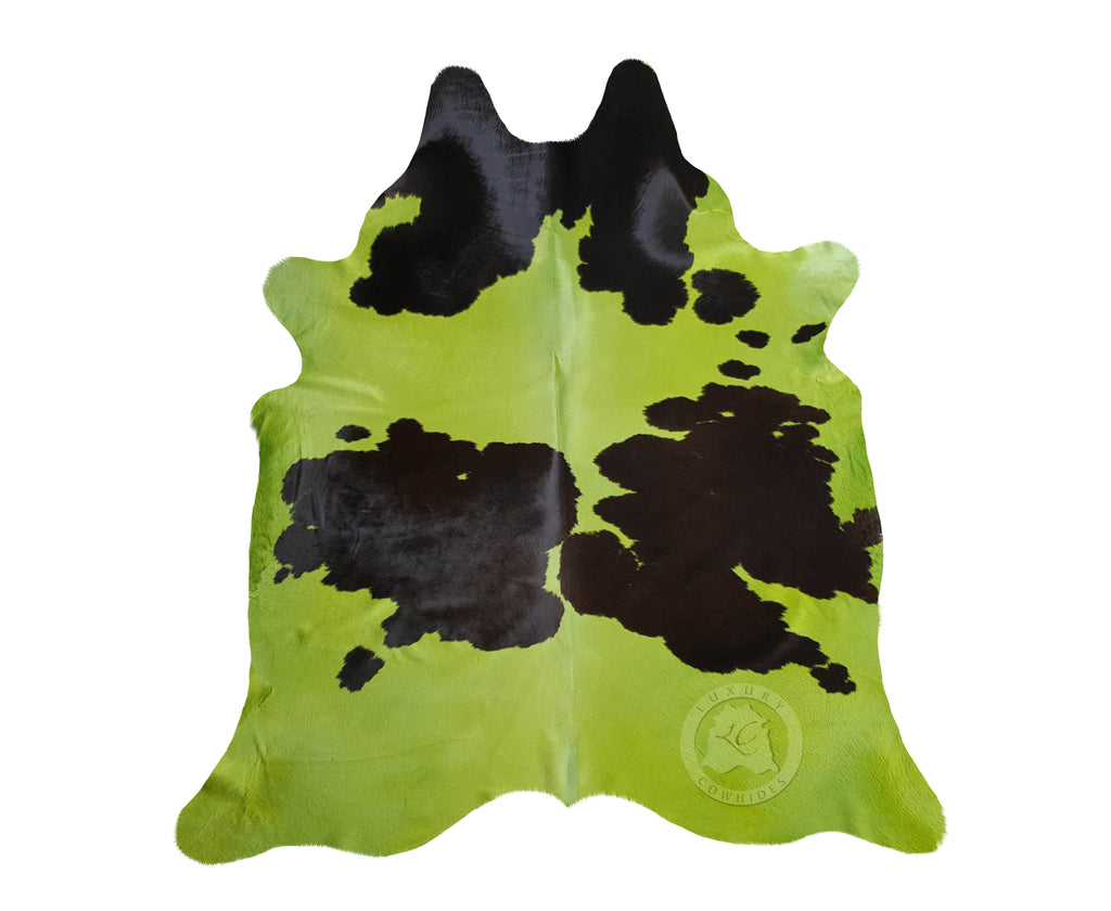 Green and Black Cowhide Rug